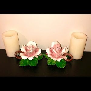 Capodimonte Vintage Pink Rose Candle Holders